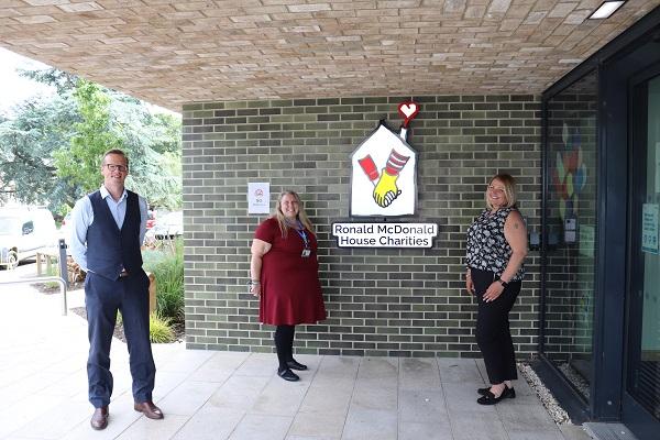 James Holmes (WASHCO), Caroline Sinclair (Fundraiser at Ronald McDonald House Charities), Emma Russell (WASHCO) at Ronald McDonald House
